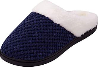 Yvelands TEELONG Women Comfort Winter Warm Slippers, Faux Fur Memory Foam Slippers Plush Lined Soft Anti-Skid Home Slipper Shoes (Navy,11 UK)