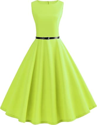 QUINTRA Women Vintage Sleeveless V Neck Evening Printing Party Prom Swing Dress (2XL, Mint Green)