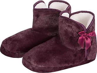 Forever Dreaming Womens Faux Fur Slipper Boots | Memory Foam Insole | Sizes 3-8 | Ribbon Slip On Berry 5-6