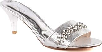 Unze Unze Women Hailee Shimmery Formal Stone Accented Evening Open Toe Slip On Kitten Heel Sandals UK Size 3-8 - 750-10B-1 Silver