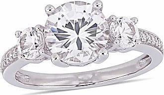 Zales Lab-Created White Sapphire and 1/15 CT. T.w. Diamond Three Stone Engagement Ring in 10K White Gold