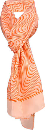 TigerTie Satin scarf orange lachs wave patterns - 100% silk - size 35 x 160 cm