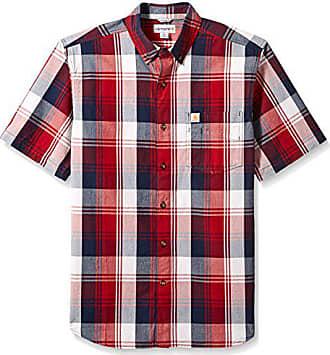 Carhartt Work in Progress Mens Big & Tall Essential Plaid Button Down Collar SS Shirt, Dark Crimson, Medium