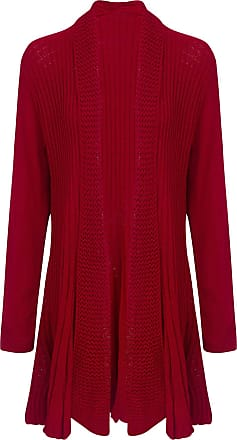 Shelikes New Womens Ladies Long Sleeve Crochet Knitted Waterfall Open Cardigan Plus Size-Red-UK - M/L (12-14) (100% Acrylic)