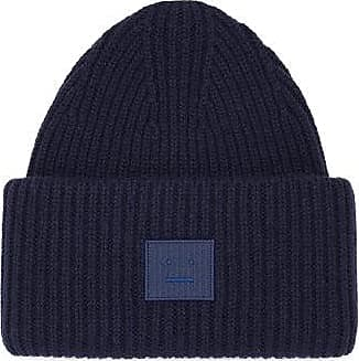 Acne Studios Pansy Face-patch Wool Beanie Hat - Mens - Navy