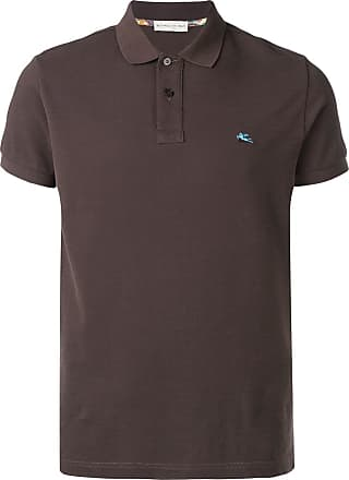 Etro logo embroidered polo shirt - Brown