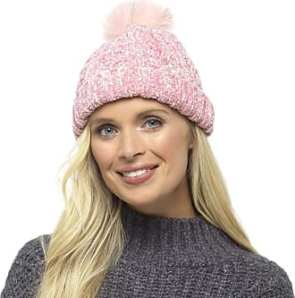 Foxbury Ladies Chenille Hat with Faux Fur Bobble Pink