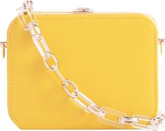 Girly HandBags Women Faux Leather Hard Case Clutch Bag - Yellow
