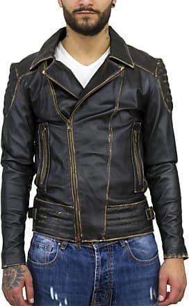 Leather Trend Italy Chiodo Napoli - Giacca Uomo in Vera Pelle colore Nero Asportato
