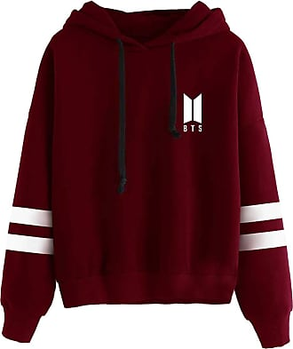 EmilyLe OLIPHEE Womens Kpop Fashion Hoodies BTS Idol Concert Support Cloth Fangirls Long Sleeves Stripes Pullover Jumper Suga Jin Jimin Jung Kook J-Hope Rap-M