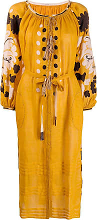 Vita Kin Vestido midi bordado - Amarelo