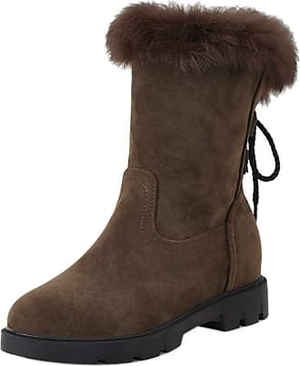 RAZAMAZA Women Low Heel Ankle Boots Flat Snow Boots Outdoor Lace up Casual Boots Brown Size 43 Asian