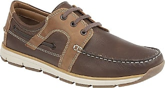Roamers Mens Roamers Leather 3 Eye Apron Moccasin Leisure Lace Up Shoes - Brown Leather, Mens UK 8 / EU 42