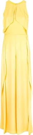 Halston Heritage Vestido de festa frente única com sobreposição - Amarelo