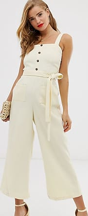 In The Style x Laura Jade strappy button front culotte jumpsuit in cream
