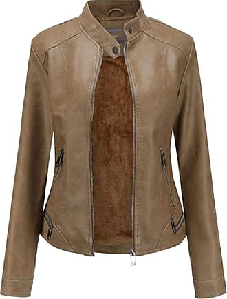 VITryst Womens PU Leather Solid Slim Fit Stand Collar Zipper Bomber Outwear Jackets Motor Jacket Coat,Brown,X-Small