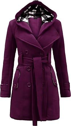 Noroze Womens Long Sleeve Belted Button Fleece Coat Size 8 10 12 14 16 18 20 22 24 26 Purple