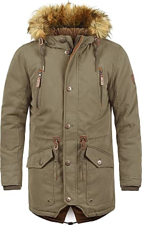 Solid Vidage Mens Parka Outdoor Jacket Winter Coat with Teddy Fleece and Fur Hood with Hood, Size:L, Colour:Shitake Br (5323)