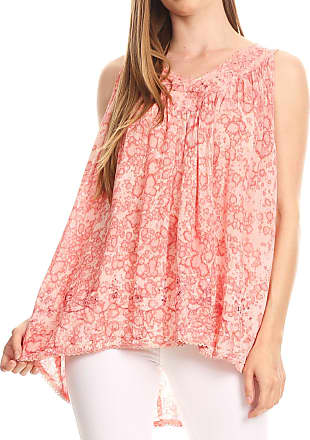 Sakkas 52531 Bohemian Summer Sleeveless Blouse - Rose - One Size
