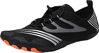 ICEGREY Mens Womens Water Shoes Beach Surf Diving Swim Barefoot Aqua Shoes Quick Dry Lightweight for Pool Sand, Black A UK 10.5