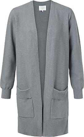 YaYa Gerippte Strickjacke aus Baumwolle mit gefalteten Taschen Sea Blue Melange - medium | sea blue | cotton - Sea blue