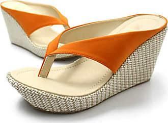 Losomi Womens Flip Flops Wedge Sandals Slip on High Heel Sandal Platform Footbed Summer Party Shoes Orange