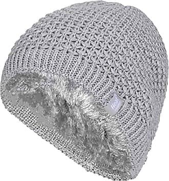 Heat Holders Ladies Crochet Knit Style Fleece Lined Warm Thermal Winter Beanie Hat (One Size, Light Grey (Nora))