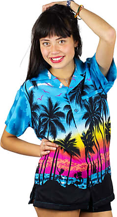 V.H.O. Funky Hawaiian Blouse Shirt, Shortsleeve, Beach, Turquoise, 4XL