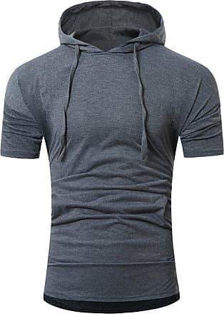 NPRADLA Men Summer Fashion Hooded Pullover Mens Short-Sleeved T-Shirt Tops Short Polo Shirt Short Tops Dark Gray