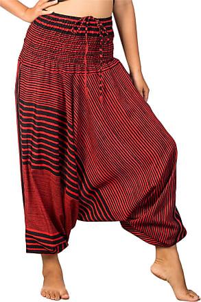 Lofbaz Womens Stripe Printed Smocked Waist Harem 2 in 1 Jumpsuit Pants Red XL