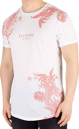 Religion Mens Hawaiian Curved Hem T-Shirt, White, XL