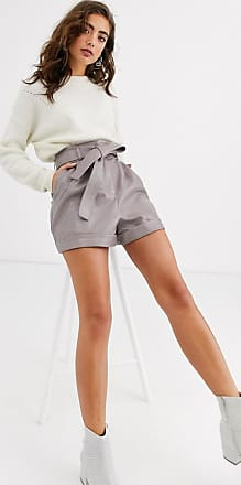 Topshop croc faux leather shorts in taupe-Beige
