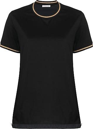 Moncler Camiseta de algodão com cordão de ajuste - Preto