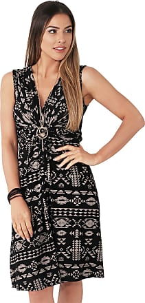 Krisp Aztec Print Sexy V-Neck Dress Jersey Casual Dresses Day Summer Party Cocktail Knot Front (Mocha [6607], 14), 6607-MOCBLK-14