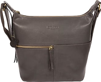 Pure Luxuries London Conkca London Kristin Womens 26cm Biodegradable Leather Shoulder Bag with Zip Over Top, 100% Cotton Lining and Adjustable Canvas Strap in Slate B190