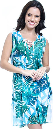 c1fd2db26 101 Resort Wear Vestido Evasê Curto 101 Resort Wear Estampado Folha Verde