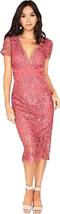 Little Mistress Megan Plunge Neck Crochet Pencil Dress 14 UK Pink