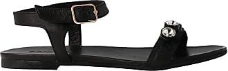 Inuovo 7191 - Shiny Black Leather Sandal for Women Black Size: 4 UK