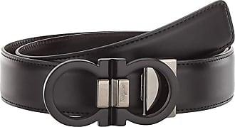 Salvatore Ferragamo Double Gancio Buckle Adjustable/Reversible Belt (678648) (Black/Hickory) Mens Belts