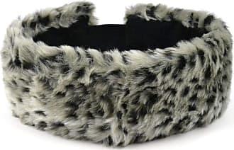 Hawkins Faux fur headband snow leopard print elasticated back and satin lining