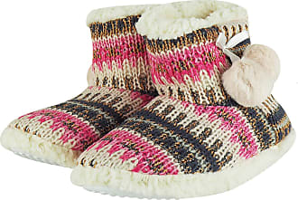 MySocks Ladies Slippers Pink Glitter Fairisle