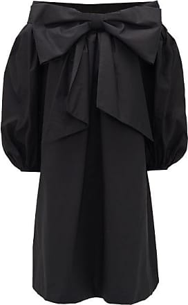 Françoise Bow-front Off-the-shoulder Cotton Dress - Womens - Black