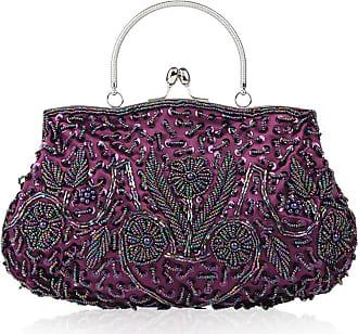 YYW Collection Antique Floral Seed Bead Sequin Soft Clutch Evening Bag Designer Purse Large Clutch Handbag (Purple)
