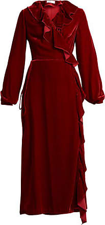 Racil Wilt Ruffle Trimmed Velvet Wrap Dress - Womens - Burgundy