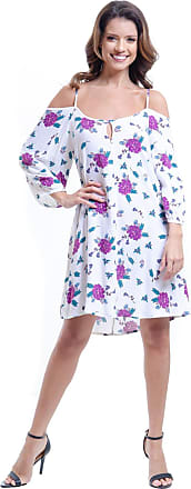 101 Resort Wear Vestido 101 Resort Wear Saída Ciganinha Viscose Estampado Floral Off