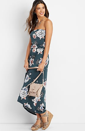 Maurices Floral Print Strapless Maxi Dress