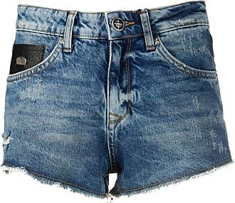 John Richmond Short jeans com efeito destroyed - Azul