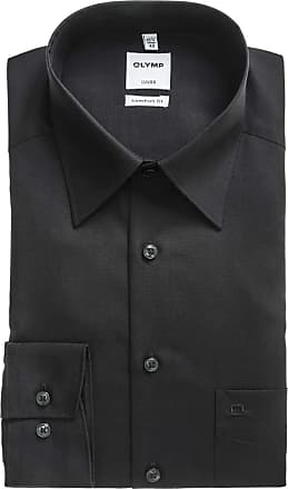 Olymp Mens Shirt Comfort Fit Kent Collar, 1/1 Arm - Black - Black - 16