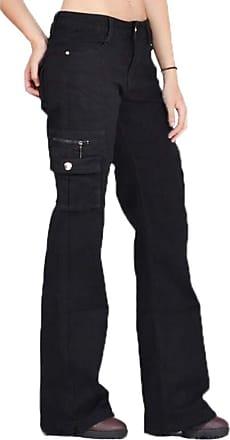 Hellomiko Women s Casual Trousers Multi-Pockets Solid Black Cargo Pants Combat Trouser Plus Size S-5XL