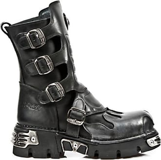 New Rock NEWROCK 591-S3 SILVER FLAME METALIC BLACK LEATHER BOOT BIKER GOTH BOOTS (UK 6 / EU 39 LADIES)